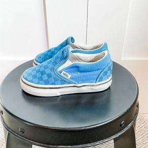 6T Vans Classic Blue Checker Slip On